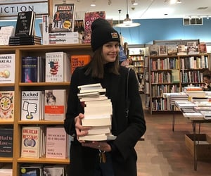 books, girl, and model image