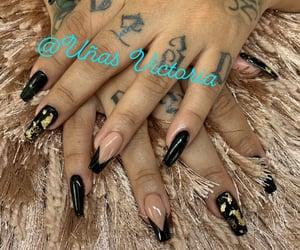 black nails, Nude, and beautiful nails image