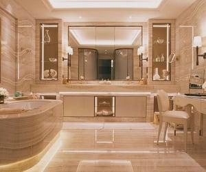 bath tube, lights, and luxury image