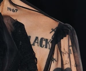 Harry Styles, black, and tattoo image