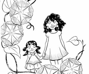black and white, cute art, and sisters image