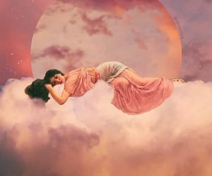 clouds, moon, and goddess image