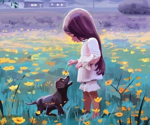 art, girl, and dog image