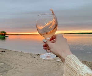 beach, drink, and wine image