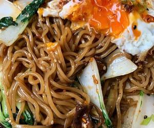 fried egg, mushroom, and asian food image