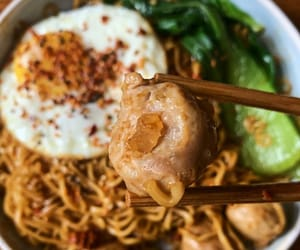 fried egg, meatball, and instant noodles image