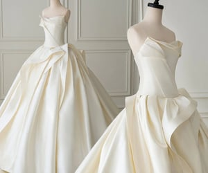 pleated, wedding, and weddingdress image