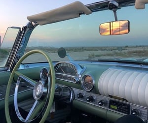 car, sunset, and vintage image