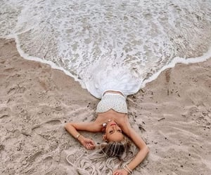 beach, ocean, and sun image