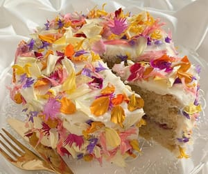 flowers, food, and cake image