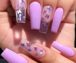 butterfly, nails, and purple image