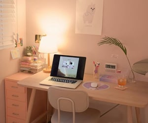 bedroom, computer, and cute image