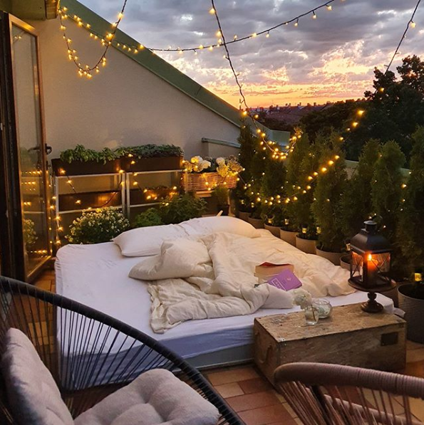 balcony, bed, and chill image