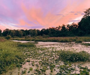 aesthetic, lake, and sunset image