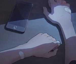 anime, bandage, and hand image