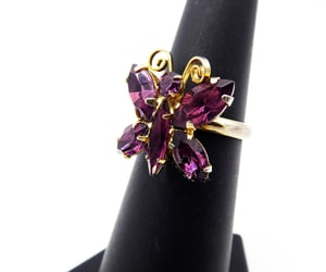 Purple Rhinestone Butterfly Ring, Adjustable OSFA Vintage 1960s 1970s Costume Jewelry | 21 Vintage Street