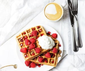 breakfast, coffee mug, and waffles image