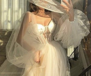 gown, hat, and lace image