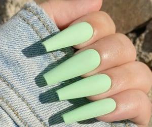 nails, acrylics, and green image