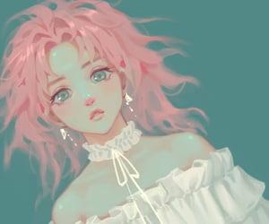 anime, artwork, and blue background image