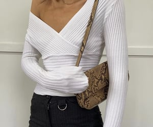 gold jewelry, long sleeve top, and off shoulder top image