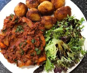 salad, roast potato, and harissa lentils image