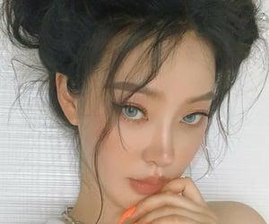aesthetic, blue eyes, and orange image