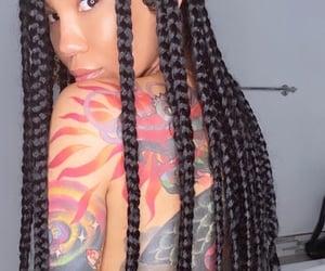jhene aiko, braids, and tattoo image
