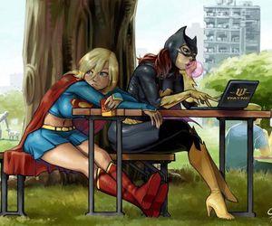 Supergirl, batgirl, and batman image
