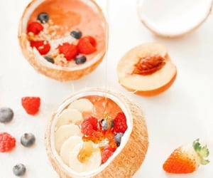 berries, smoothiebowl, and coconuts image