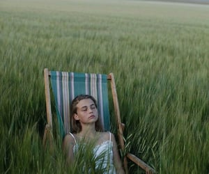 girl, relax, and tall grass image
