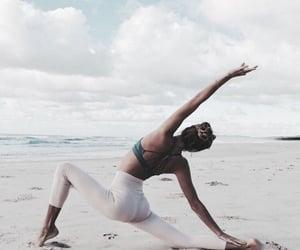 yoga, beach, and girl image