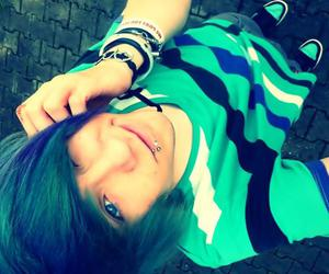 blue eyes, cute emo guy, and blue hair image