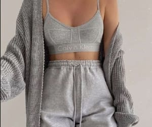 Calvin Klein, grey, and outfit image