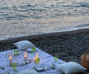 beach, candles, and date image