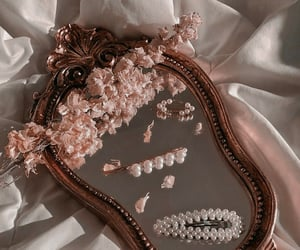 mirror, flowers, and pearls image