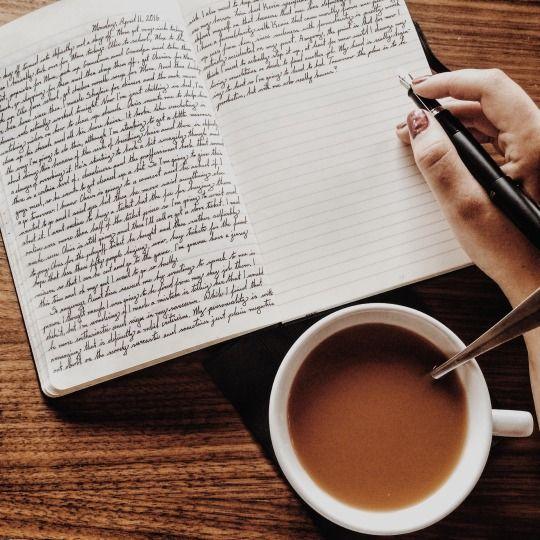 journal, writing, and coffee image