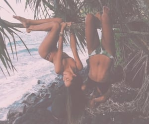 beach, forest, and girls image
