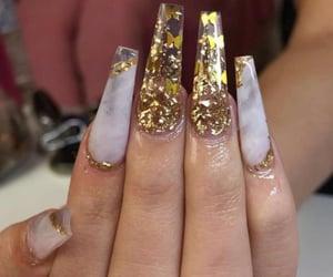long nails, gel nails, and white and gold nails image