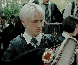 books, draco malfoy, and harry potter image
