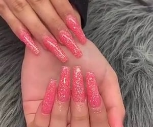long nails, pink nails, and glitter nails image