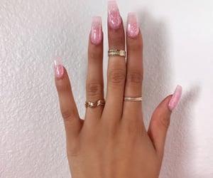 acrylics, nails, and pink nails image
