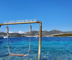 beach, blue, and carpe diem image
