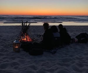 beach, evening, and friends image