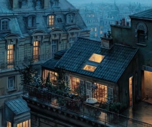 city, house, and light image