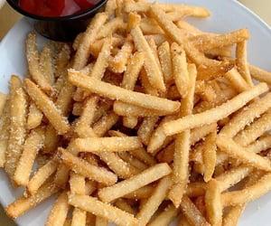 art, fries, and hamburger image