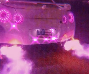 car, pink, and pink lights image