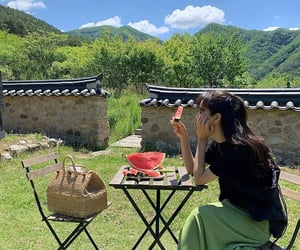 food, girl, and green image