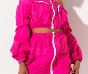 fashion, off the shoulder, and pink image