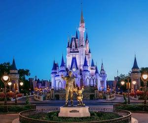castle, disney, and lights image